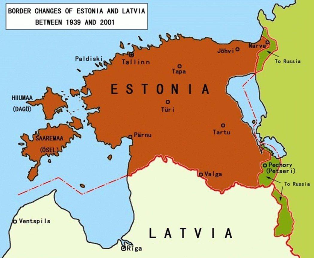愛沙尼亞東北、東南邊界,是一戰後收獲的新領土。二戰其間被蘇聯佔去,即使後來恢復獨...