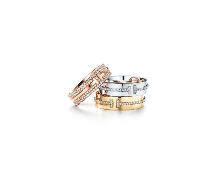 Tiffany T Two 系列戒指(上至下) 18K玫瑰金鋪鑲鑽石戒指25萬元...