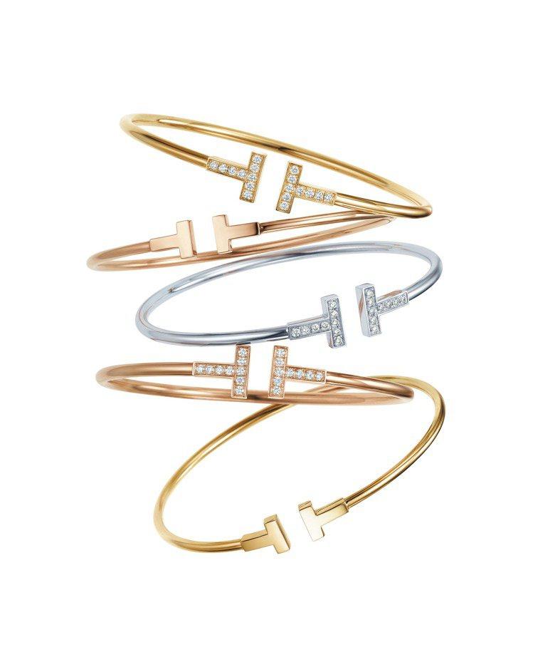 Tiffany T Wire 手環 (上至下) 18K金鑲鑽手環116,000元...