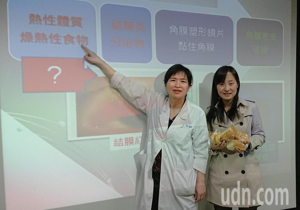 李小姐(右)配戴角膜塑型片13年,去年迷上吃麵包,導致結膜炎發作常停戴鏡片,視力...