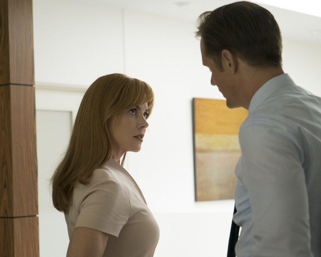 妮可基嫚與亞歷山大史卡斯加都因「美麗心計」頻頻獲獎。圖/HBO提供