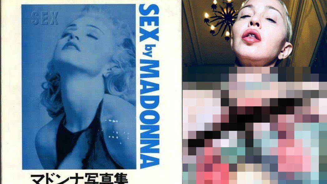 瑪丹娜發布和LV包包的自拍照,身上沒有穿衣服,胸前「重點」用大叉叉蓋住。圖/摘自