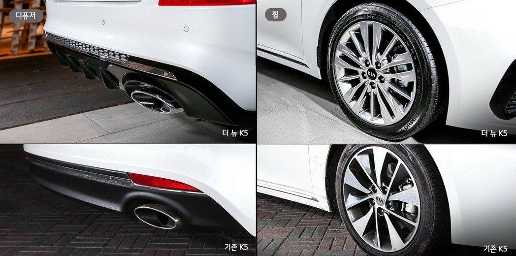 後保下飾板與鋁圈的變化,圖上方為全新Kia K5。 摘自Kia