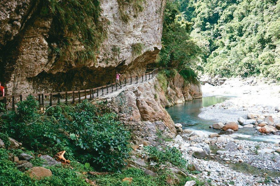 花蓮太魯閣國家公園內的砂卡噹步道,也是人氣景點。 記者王燕華/攝影