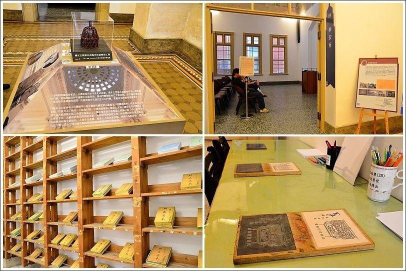 ↑左上:門廳建築之美解說。右上:奉安所現在成為多媒體播放室。左下:法院檔案展示。...
