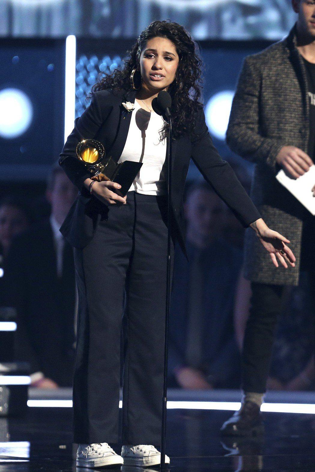 艾莉西亞卡拉(Alessia Cara)贏得最佳新人獎。 圖/美聯社