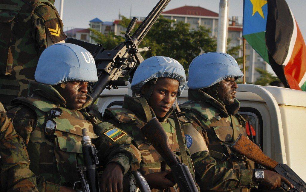 安全理事會派駐到南蘇丹的聯合國軍隊。 圖/美聯社
