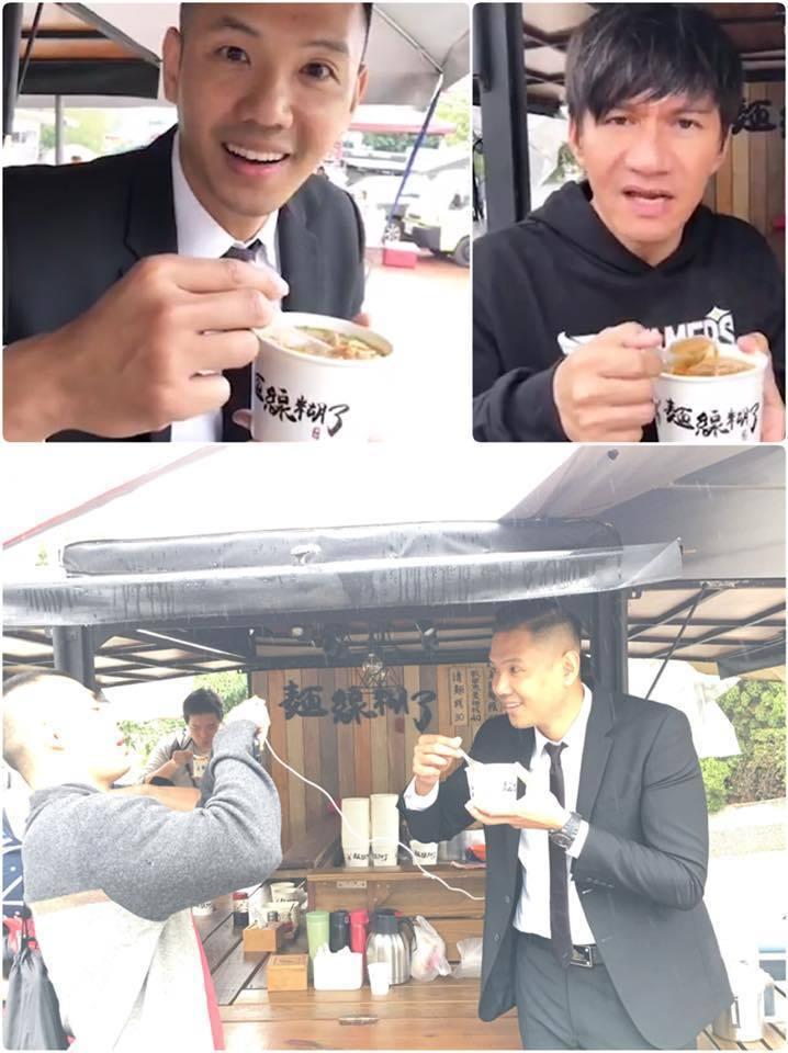 黑人自己直播介紹餐車,還揪王宏恩一起吃。圖/摘自臉書