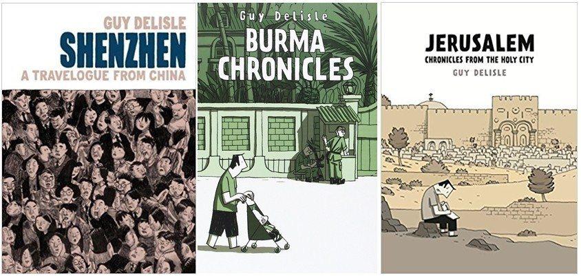 圖為加拿大籍圖文書老手戴理瑟作品:《深圳:在中國的旅遊紀事》《記錄緬甸》及《耶路...