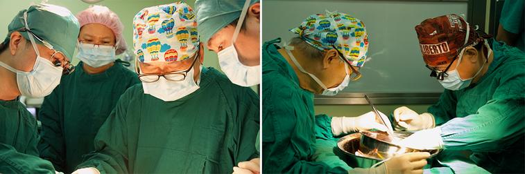 左圖/夏強副院長(左)與恩師陳肇隆院長(花帽者),同台進行示範手術。右圖/為符合...