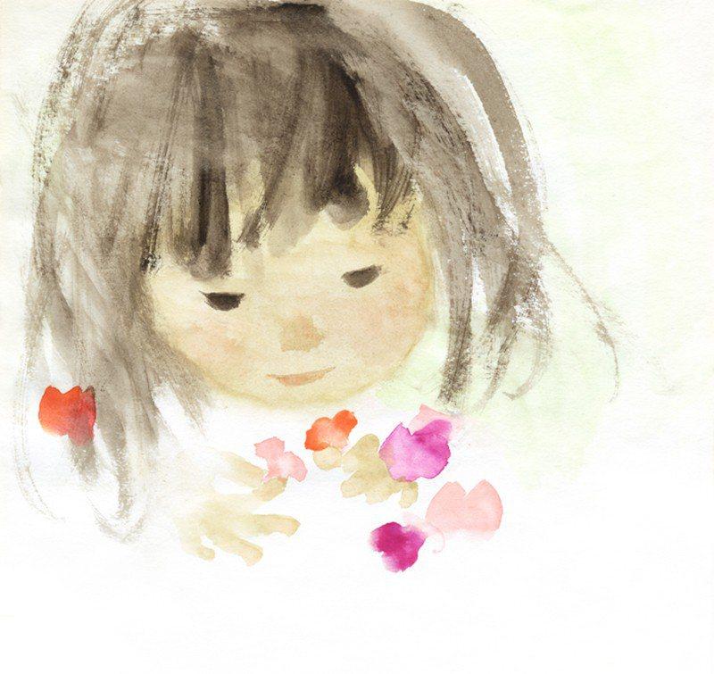 圖/岩崎知弘,女孩與香豌豆花,1973©知弘美術館