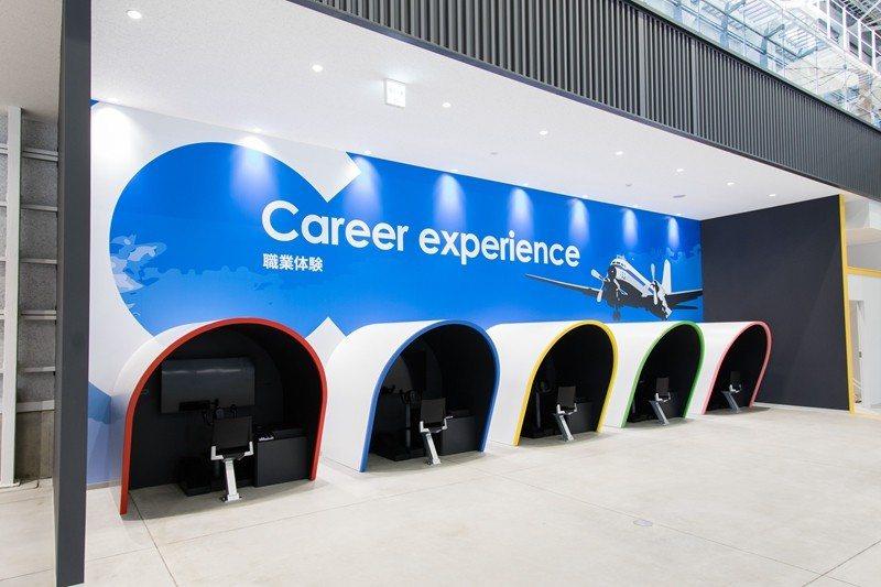 在職業體驗區能進入高科技的虛擬設備中體驗飛行員的駕駛空間,感受飛行的樂趣。