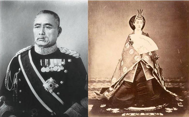(左圖)臺灣總督佐久間左馬太有數次進貢文旦的紀錄,(右圖)明治昭憲皇后據說很喜愛...