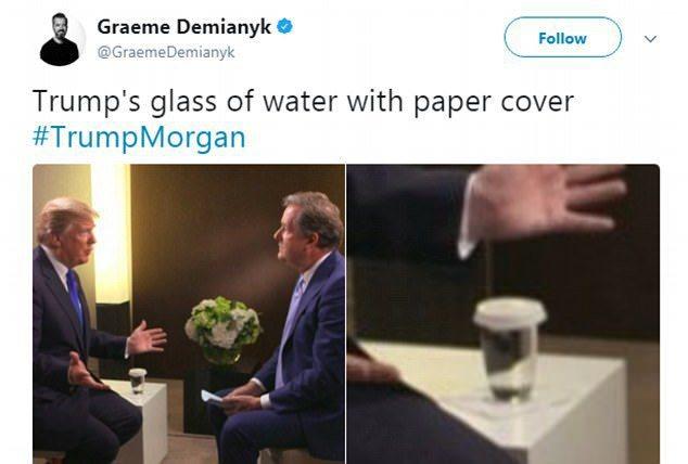 眼尖的推特網友發現,美國總統川普的水杯上加了紙蓋。取自推特