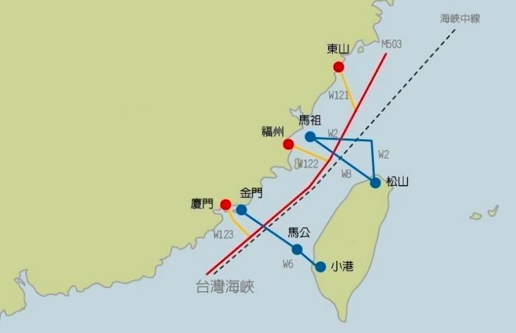圖為M503與W121,122,123航路示意圖。 聯合報系資料照片