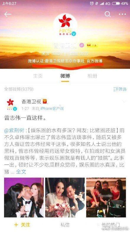 香港衛視評論曾志偉性侵醜聞,竟說「一直這樣」。圖/摘自扒圈小豬微博