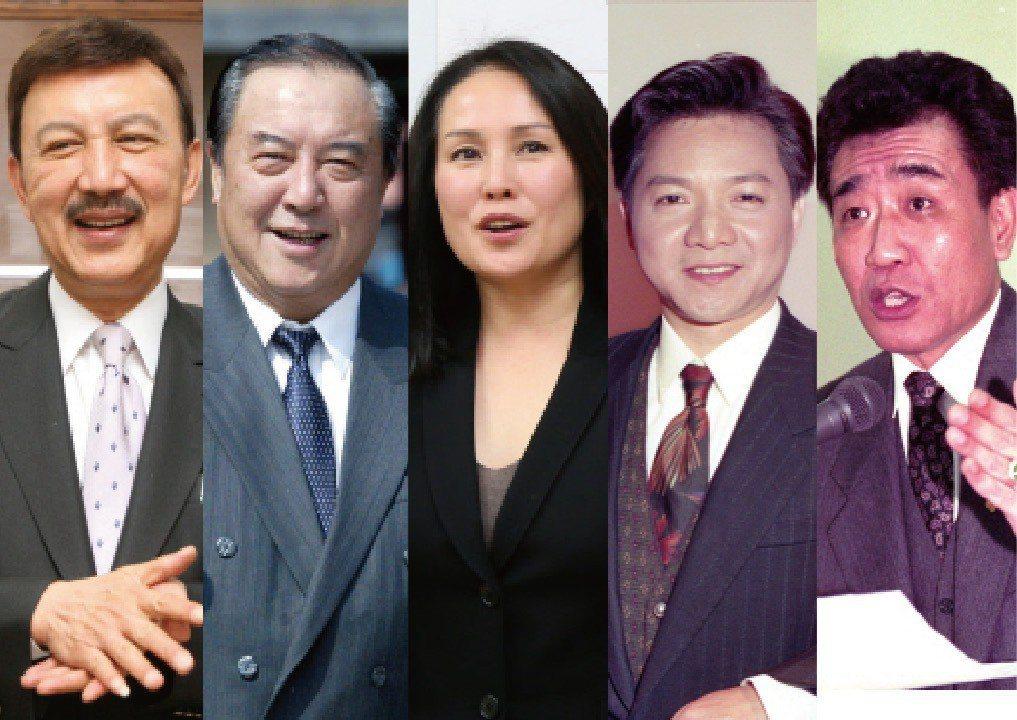 台灣政治史上有許多藝人從政的例子,右起張帝、葉啟田、高金素梅、柯俊雄、余天。 圖...