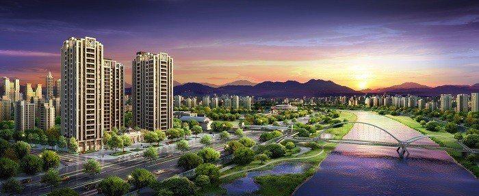 新外灘3訴求「買的起的水岸帝寶」以858萬制霸台北水岸宅。 圖/愛山林提供