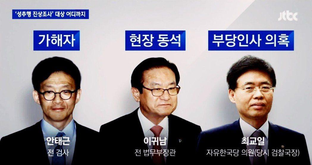 被控性侵的前檢察官安泰根(左);目擊事件但無作為的時任法務部長李貴男(中);被控...