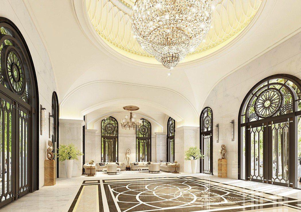 建築設計為新古典ART DECO美學,打造帝寶式穹頂建築。 圖/愛山林 提供