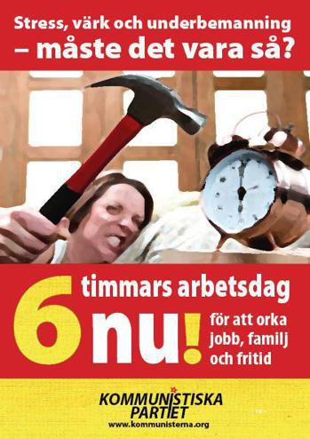 在瑞典,偏左與關心女性勞動權益的政黨,對六工時政策推廣的集為賣力! 圖/瑞典共產...