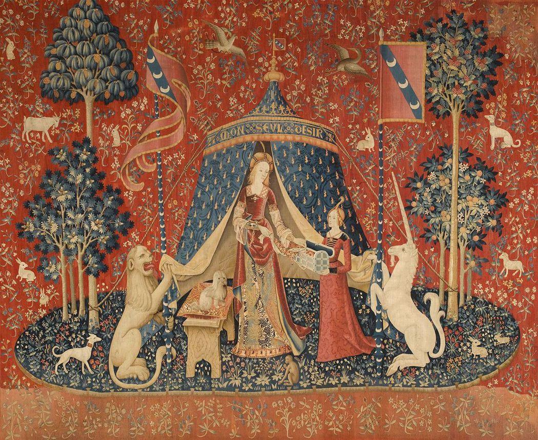 《淑女與獨角獸》系列掛毯中的《唯一所欲》。 圖/維基共享