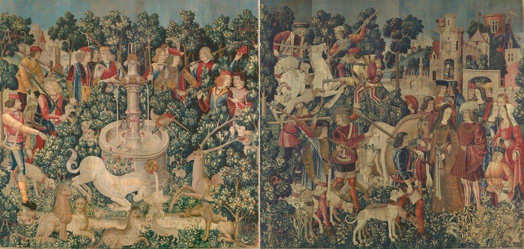 《狩獵獨角獸》系列掛毯中的「發現獨角獸」(左圖)及「補殺獨角獸與帶回城堡」(右圖...