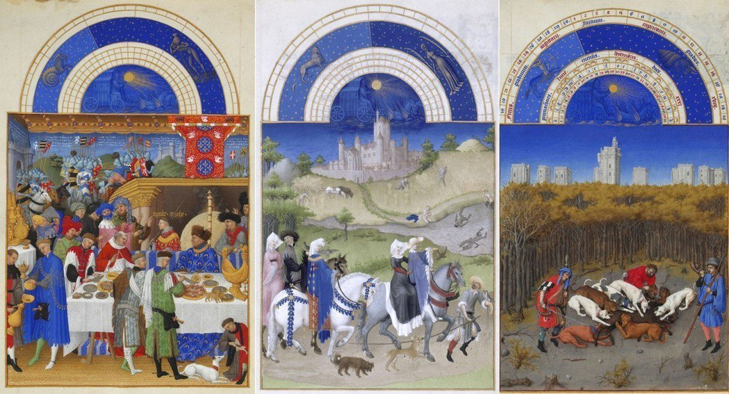 《貝里公爵的豪華時禱書》,由左至右分別為的1月、8月與12月份的場景。 圖/維基...