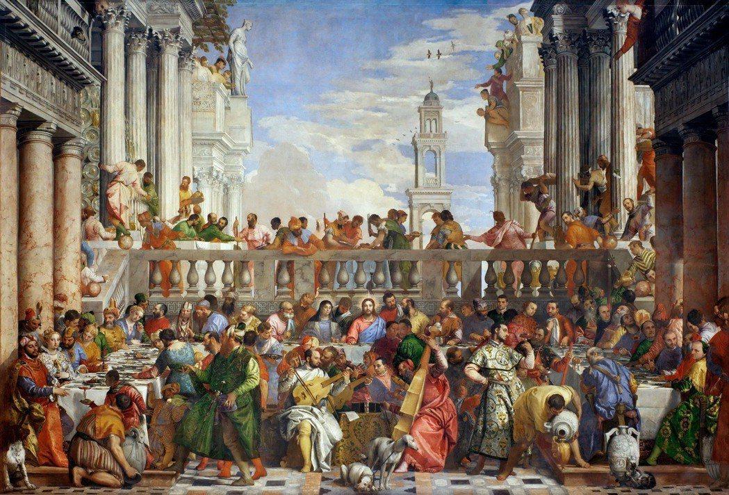 委羅內賽的《迦納的婚禮》藏於羅浮宮,在畫中加入犬隻,使其更生活化。 圖/維基共享...