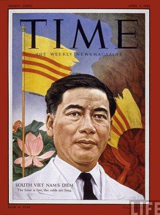 1955年《時代》雜誌封面。當期封面文章的標題是〈南越:被圍困的男人〉。