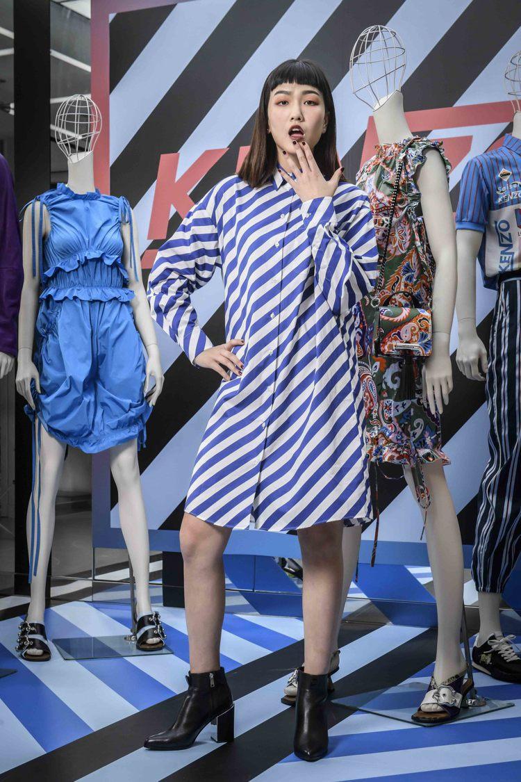 條紋襯衫洋裝,17,800元。圖/KENZO提供