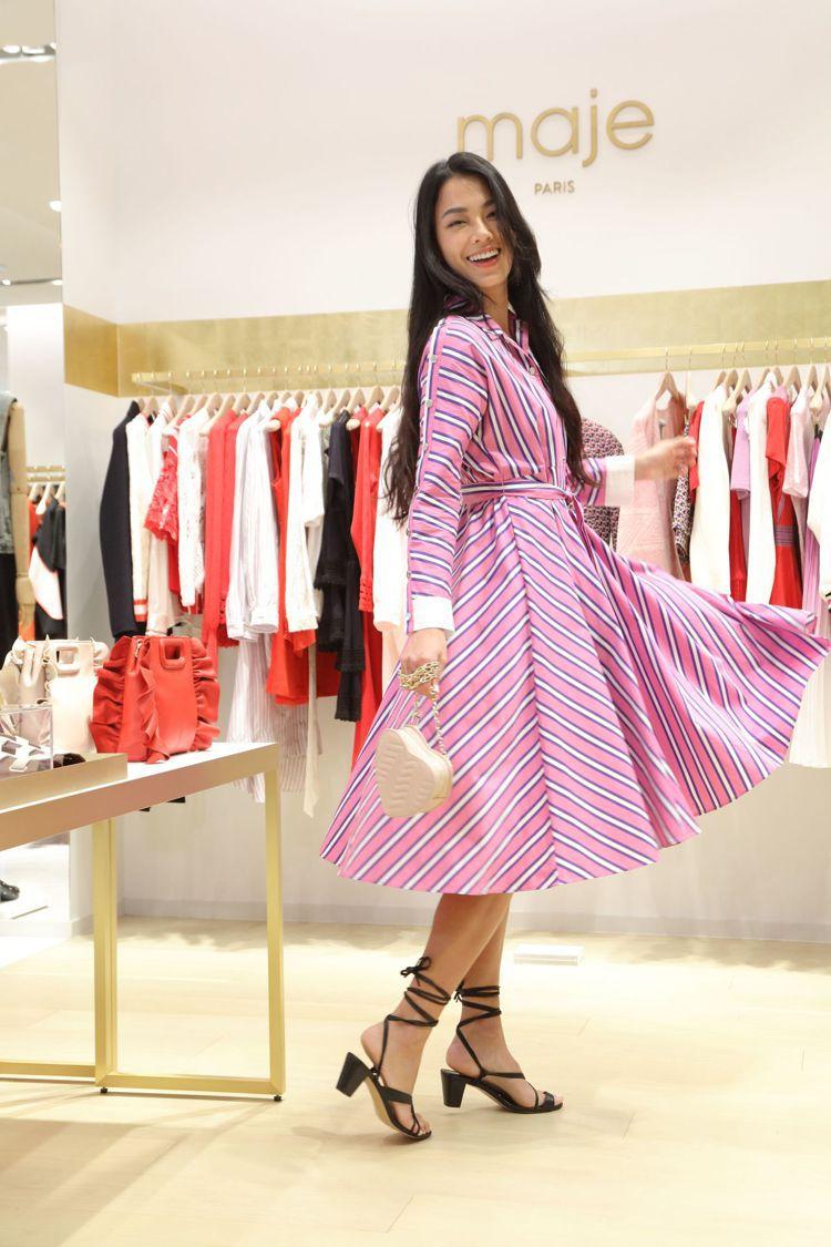 名模王麗雅首次詮釋Maje,身穿Renali條紋長裙12,750元、Ficell...