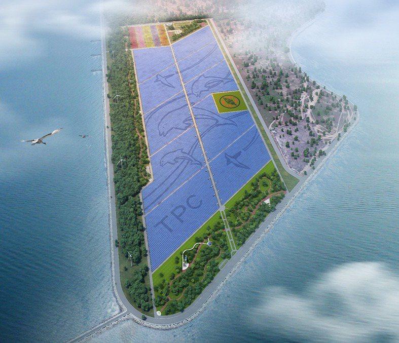 位在彰濱的全台最大地面型太陽光電廠預訂今年9月發電,這座太陽光電廠也擁有綠色廊道與裝置藝術,成為結合教育、生態旅遊的景觀公園 。記者劉明岩/翻攝