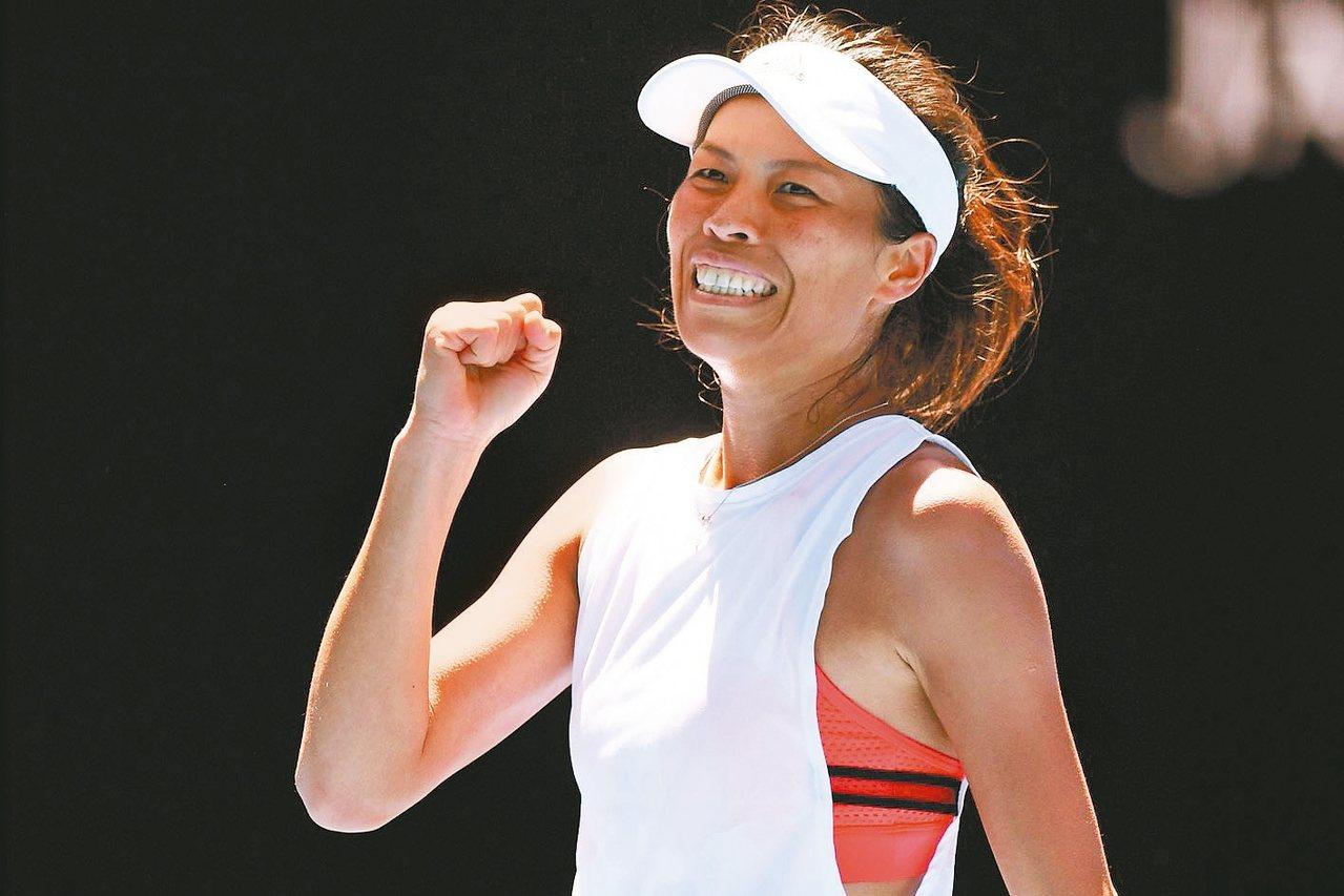 手謝淑薇與捷克新搭檔史翠可娃默契加溫,晉級印地安泉女網四強。 歐新社