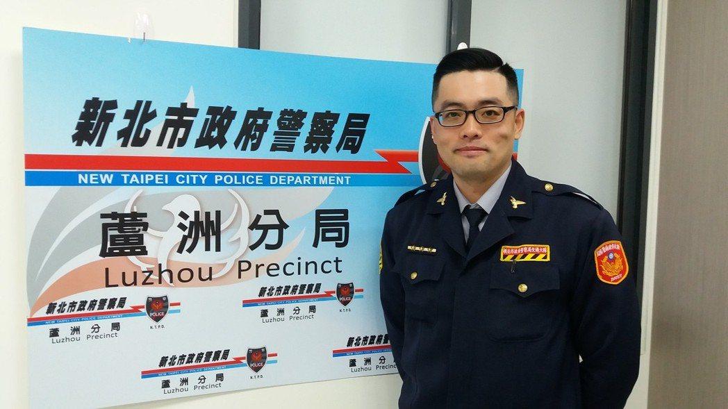 蘆洲警分局交通分隊隊員江維英。 記者陳雕文/攝影