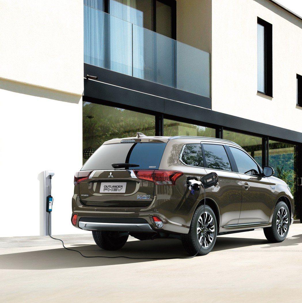 在台販售的新年式OUTLANDER PHEV插電式油電混合車,擁有1級油耗54....