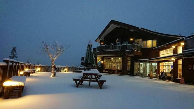 太平山森林遊樂區的翠峰山屋,清晨一片白雪在昏黃燈光的襯托下,溫柔浪漫,是這波寒流...