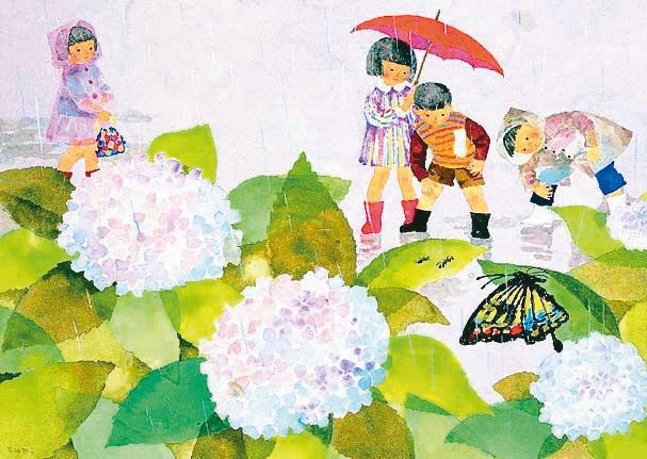 岩崎知弘作品「躲雨」,1958創作。 圖/知弘美術館、曾吉松