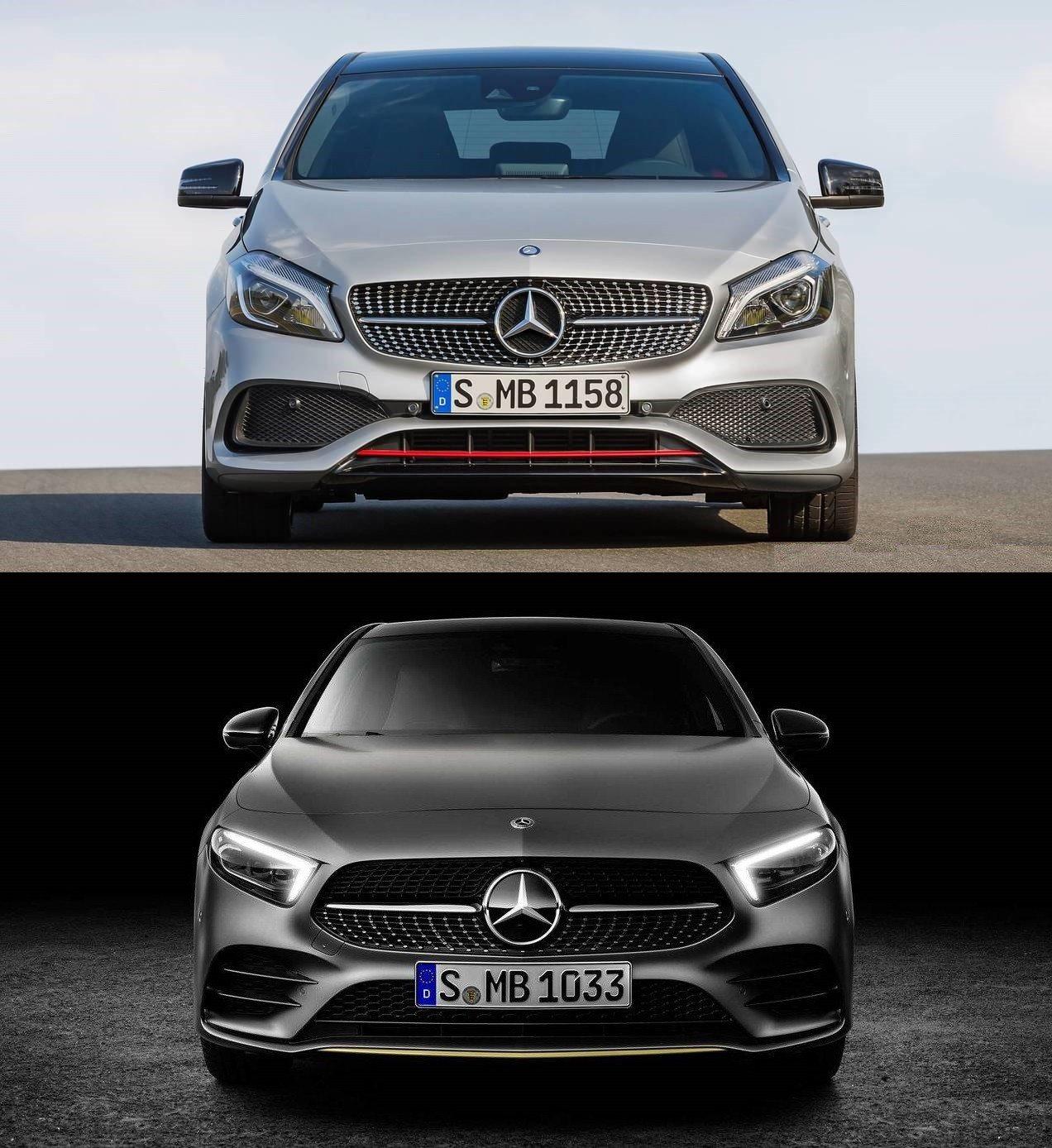 圖上:舊款 圖下:新款 A-Class車頭。 摘自Mercedes-Benz
