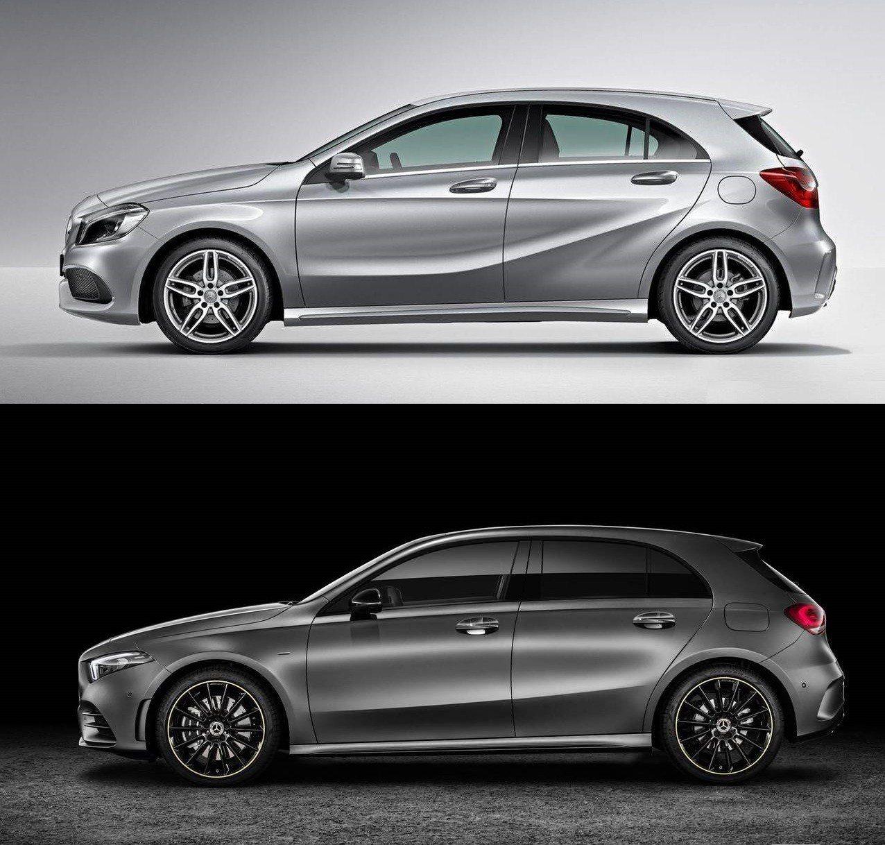 圖上:舊款 圖下:新款 A-Class 車側。 摘自Mercedes-Benz