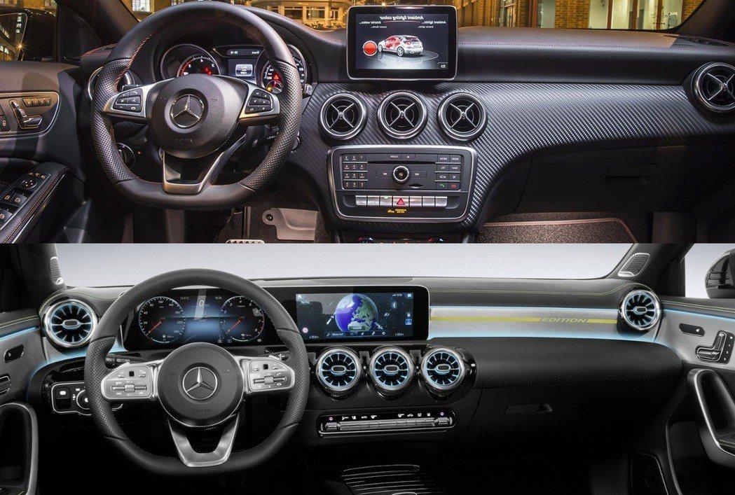 圖上:舊款 圖下:新款 A-Class內裝。 摘自Mercedes-Benz