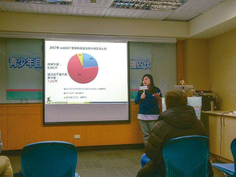 台灣展翅協會今天公布報告發現,在去年性勒索的比率首度高於網路霸凌。 記者林良齊/...