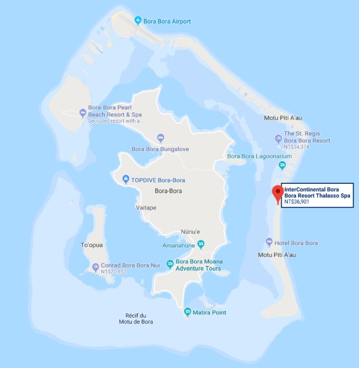洲際Thalasso渡假村在島上的相對位置。圖文來自於:TripPlus