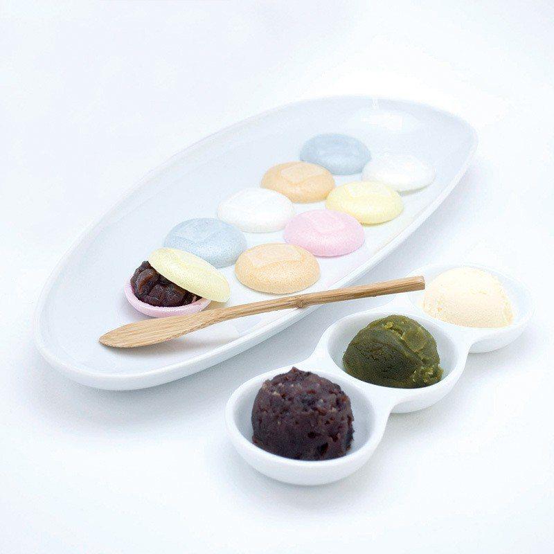 もなかプレート(最中餅拼盤 )¥972/宛如馬卡龍般的小巧最中餅,內餡有紅豆沙、...