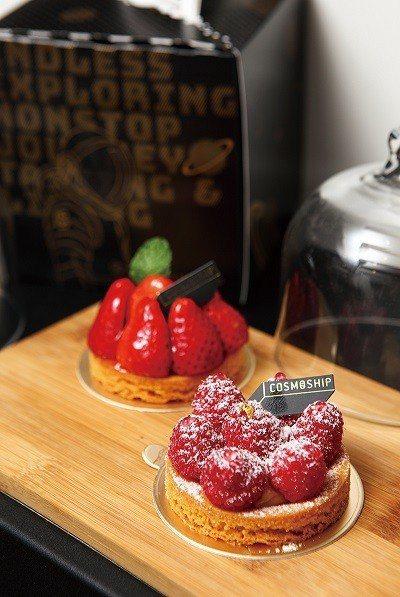 沙布列覆盆莓塔(前)180元/新鮮覆盆莓帶來微酸中的幸福感。沙布列草莓塔(後)1...