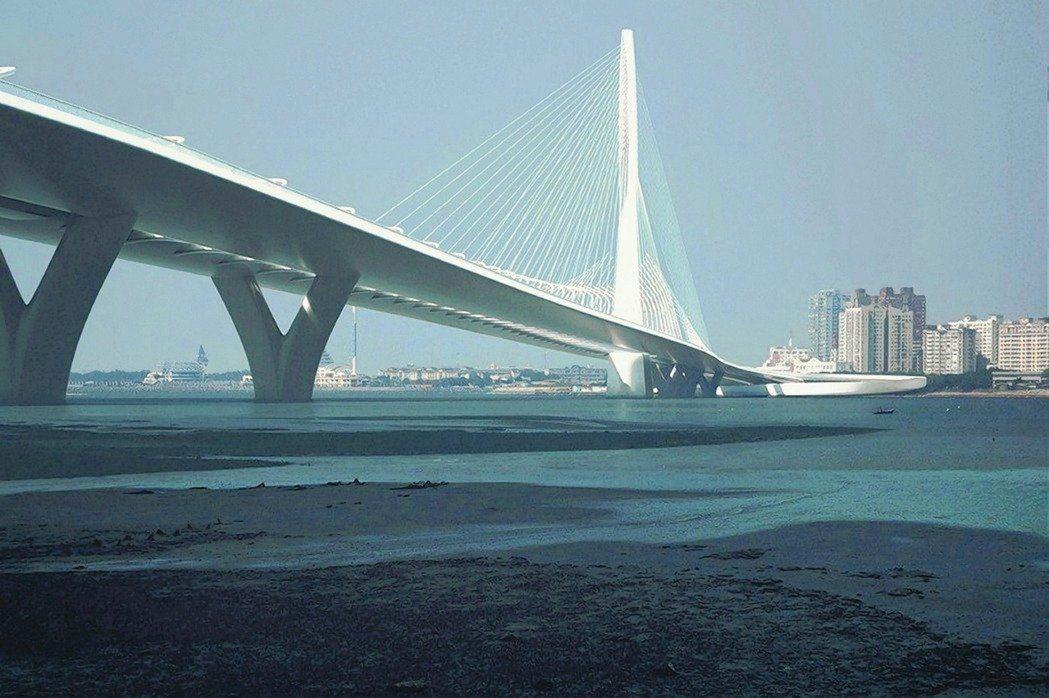 淡江大橋若第8度流標,不排除暫緩招標。圖為主橋設計示意圖。圖/公路總局提供