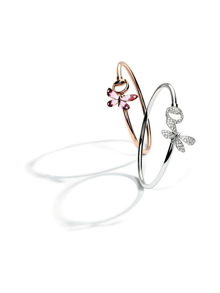 Gucci Flora系列18K玫瑰金琺瑯彩繪蝴蝶與馬銜手鐲,92,900元。1...