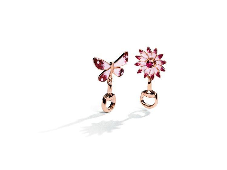 Gucci Flora系列18K玫瑰金耳環,琺瑯彩繪蝴蝶與花卉鑲嵌紅寶石飾以馬銜...