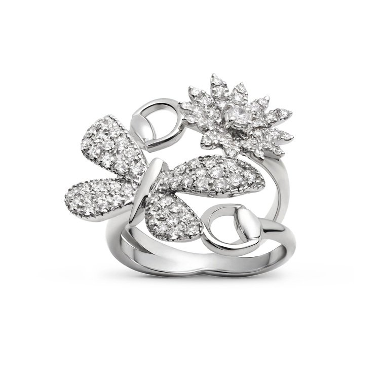 Gucci Flora系列18K白金鑲鑽戒指,價格店洽。圖/古馳提供