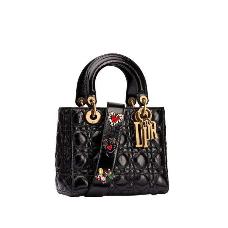 My Lady Dior黑色皺紋小牛皮飾Niki de Saint Phalle...